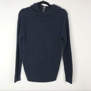 H&M Cowl Hoodie Waffle Knit Sweater Navy Blue S